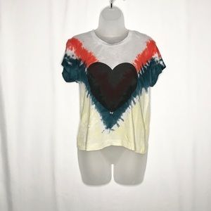 Wildfox one-of-a-kind tie dye heart distressed tee
